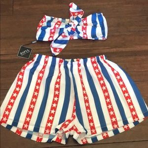 ZAFUL American Knotted Bandeau and Shorts Set